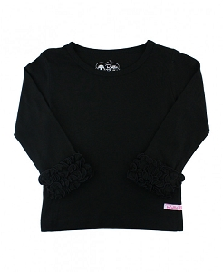 Ruffled Long Sleeve Layering Tee - Black