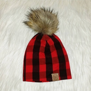 Red Buffalo Plaid Pom Beanie