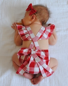 Apron Ruffle Romper - Red Gingham