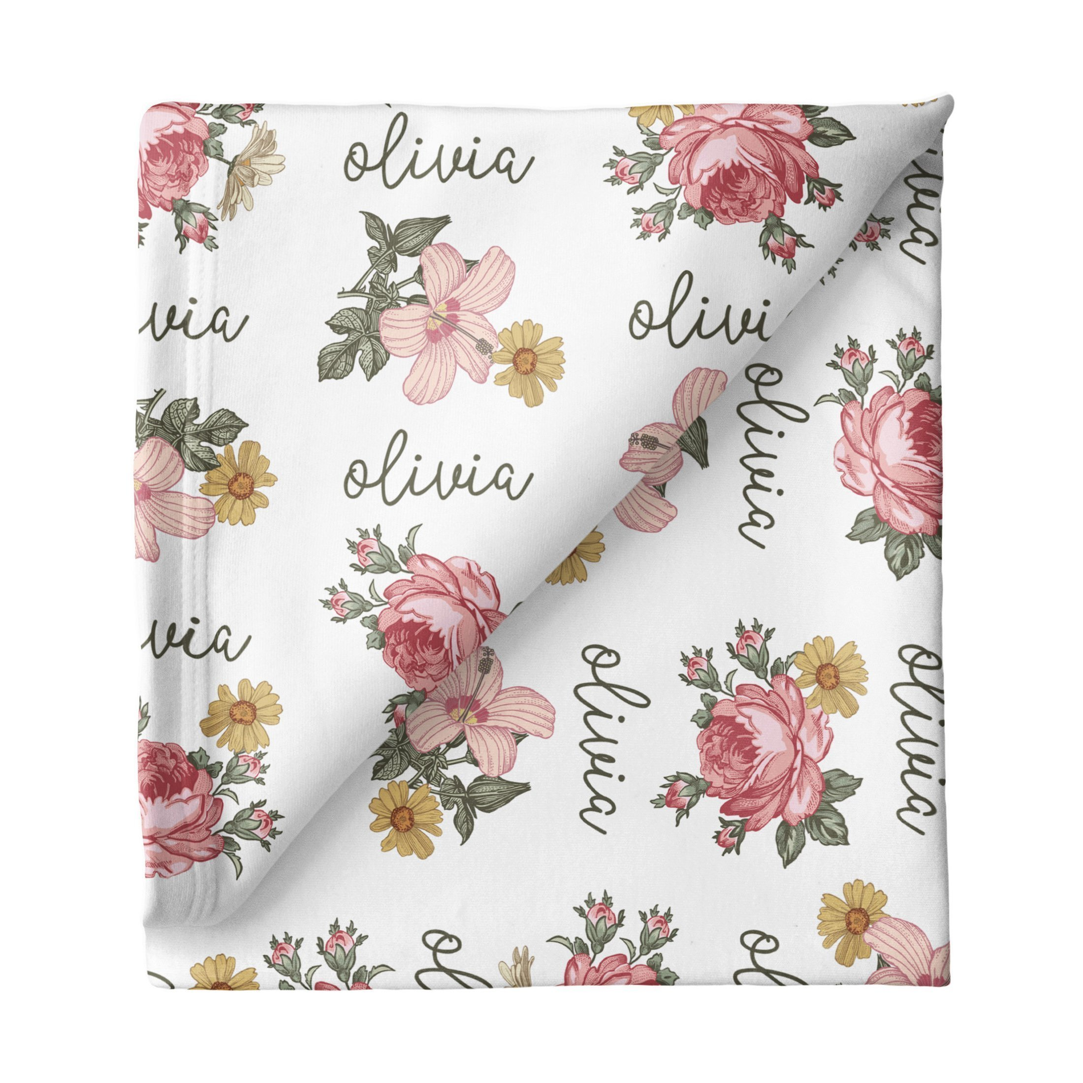 Floral Personalized Swaddle