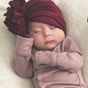 Ruffle Turban - Burgundy