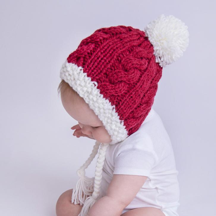 Size Small Huggalugs Santa Baby Toddler Christmas Holiday Knit Beanie Cap Hat