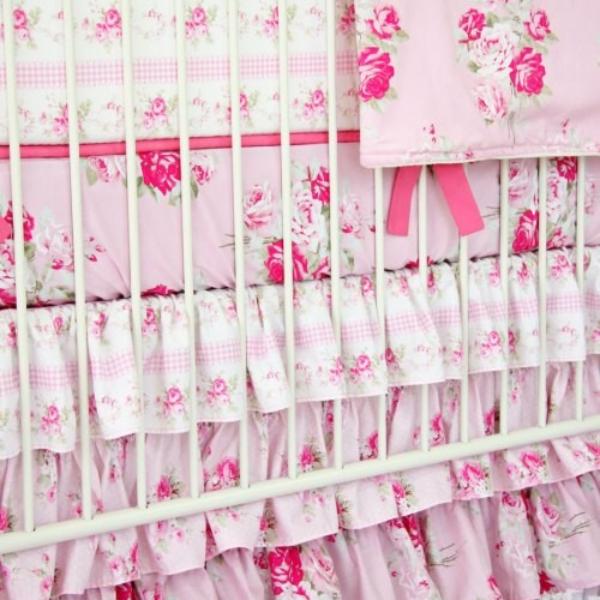 Shabby Chic Baby Bedding caden shabby chic pink ruffle baby bedding