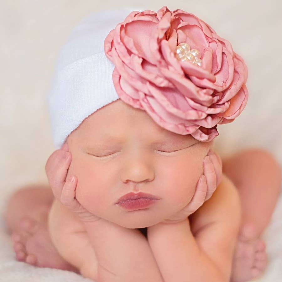 Silk Rose with Pearls Baby Beanie