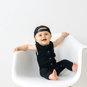 Sleeveless Snap Romper - Black