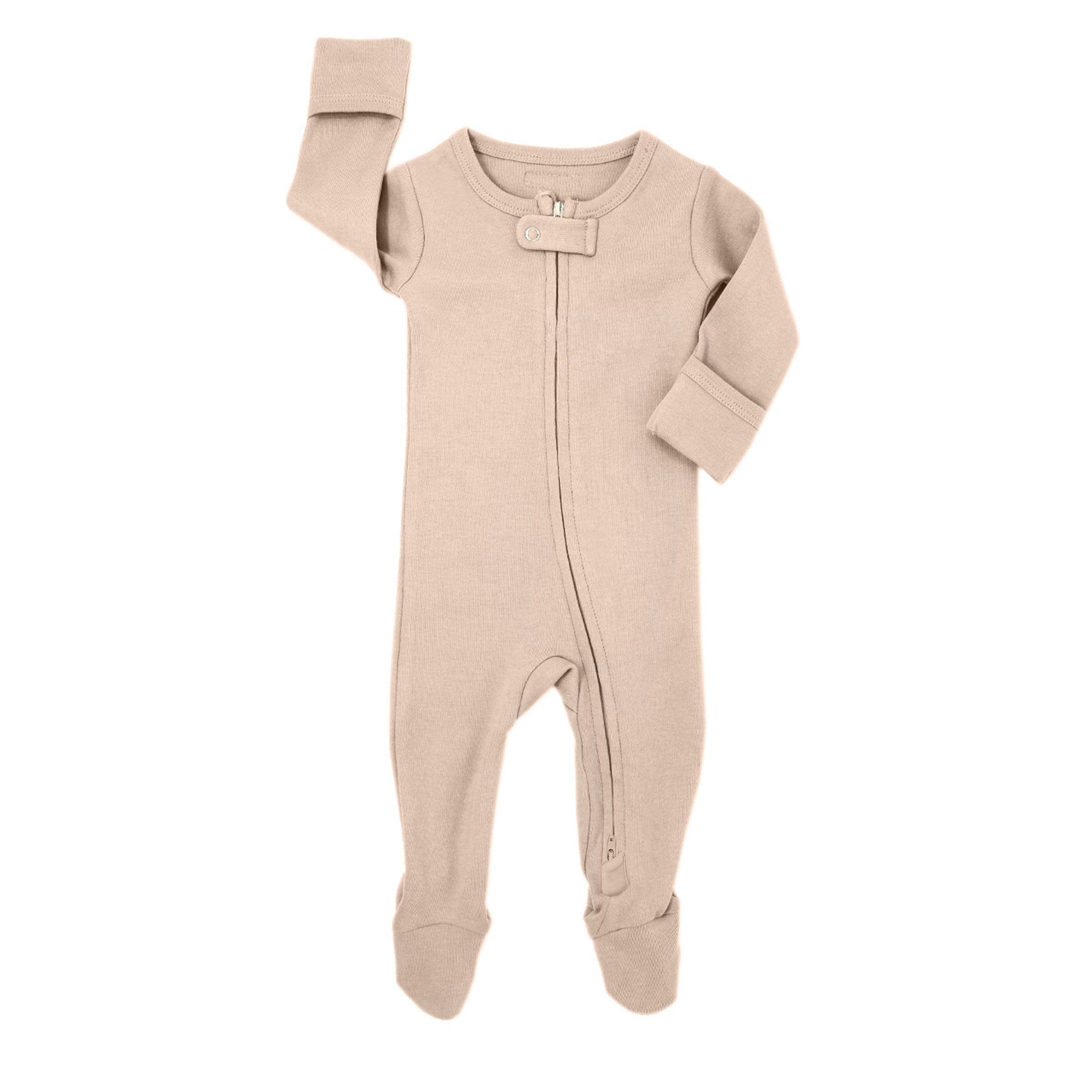 Organic Long Sleeve Footed Overall - Oatmeal
