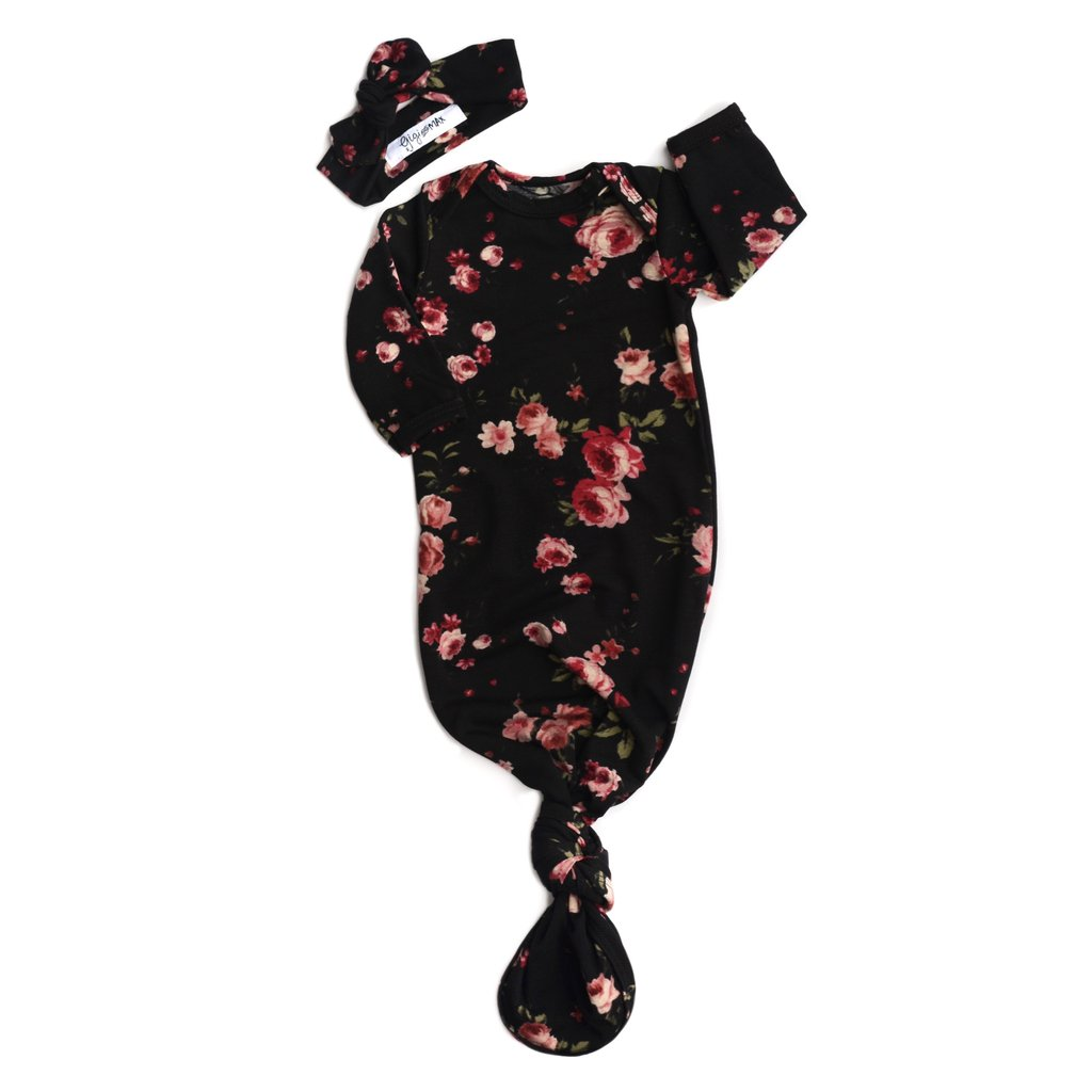 Knotted Gown & Headband Set - Black Floral