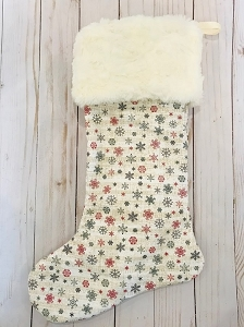 Ivory Faux Fur Trim Christmas Stocking