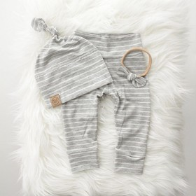 Ultra Soft and Adorable Grey Stripe Leggings & Beanie for Newborns! Made in USA! | SugarBabies Blog - Ellie & Jared's Baby Haul