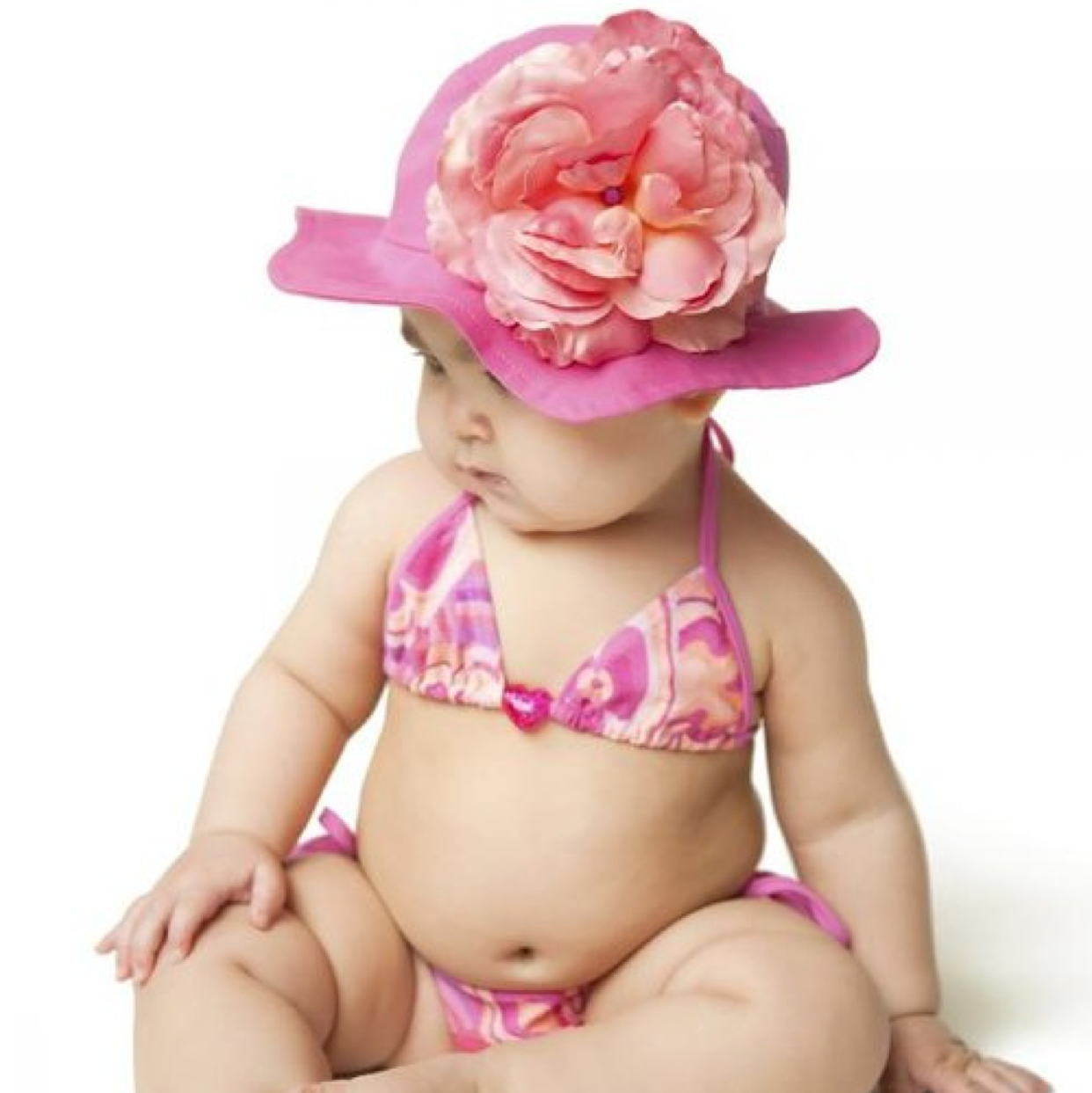 Raspberry Sun Hat with Candy Pink Rose