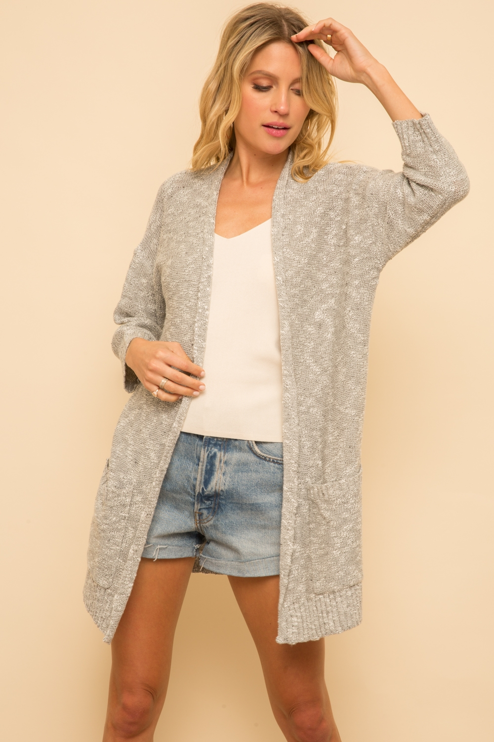 Heather Grey/White Cardigan