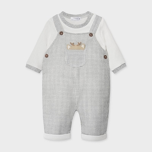 Grey Deer Overall & Shirt Set