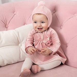 Velvet Dress Baby Girl - Blush