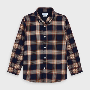 Mayoral Boys Button Down Shirt - Navy Plaid