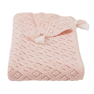 Mud Pie Pointelle Tassel Blanket - Blush