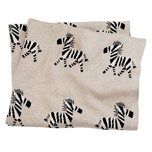 Mud Pie Knit Zebra Blanket