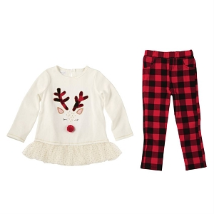 Mud Pie Alpine Reindeer Tunic Set