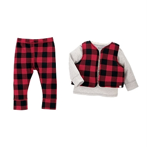 Mud Pie Red Buffalo Check 3-piece Set