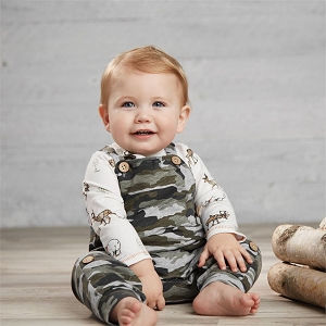 Mud Pie Woodland Camo Overall Set