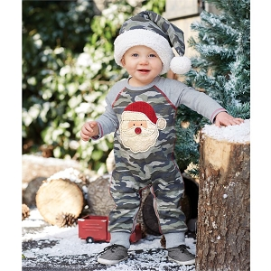 Mud Pie Camo Santa One Piece