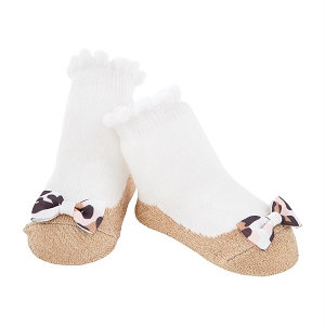 Leopard Gold Bow Socks