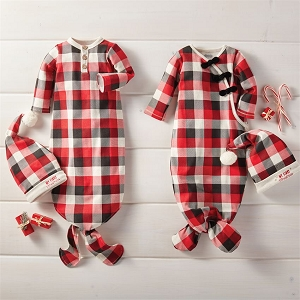 Mud Pie Buffalo Check Gown & Hat Set