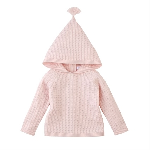 Mud Pie Cable Knit Hoodie - Pink
