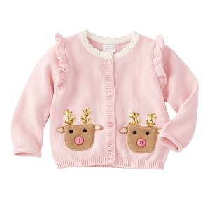 Mud Pie Pink Reindeer Cardigan