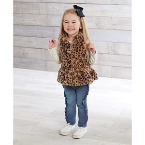 Mud Pie Brown Leopard Faux Fur Vest