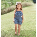 Mud Pie Denim Ruffle Romper