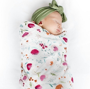 Luxe Bamboo Muslin Swaddle - Rosey Bloom