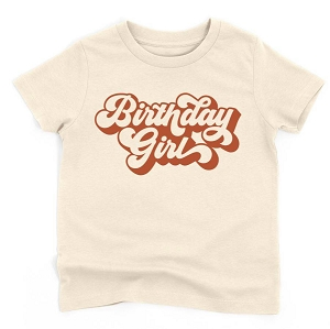 Birthday Girl Tee- Natural/Burnt Orange