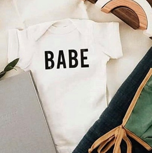 Cream & Black Babe Onesie