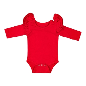 Long Sleeve Flutter Bodysuit - Red
