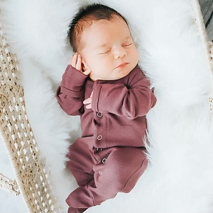 Organic Long Sleeve Footed Overall - Eggplant