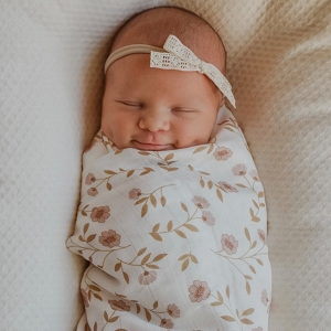 White Wild Flower Swaddle
