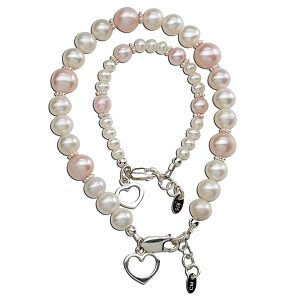 CM Mom & Me Hearts Freshwater Pearl Pink Bracelet