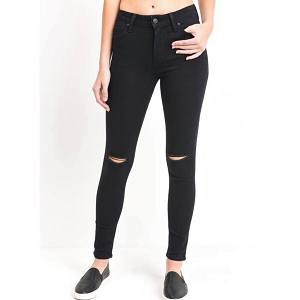 High rise knee slit skinny jeans - Black