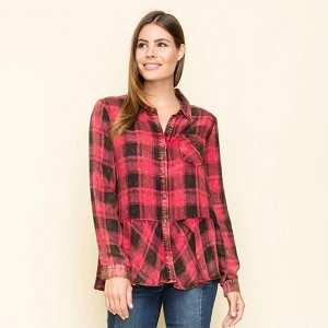 Red Plaid Ruffle Shirt