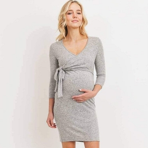 Brushed Hacci Maternity/Nursing Dress