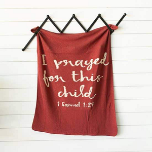 I Prayed for this Child Blanket-Rust Red