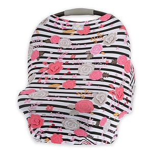 Mom Boss Multi Use Cover - Floral Stripe