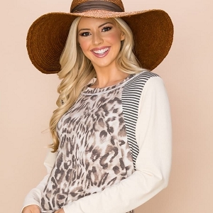 Casual Cheetah Contrast Print Top