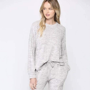 Heather Grey Brushed Lounge Wear Set