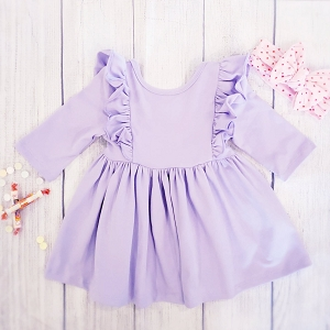 Long Sleeve Flutter Dress -Lavender
