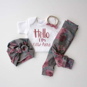Personalized Hello I'm New Here - Rose Glitter
