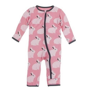 Kickee Pants Print Coverall with Zipper in Strawberry Forest Rabbit