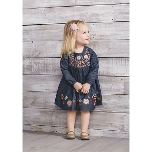 Mud Pie Embroidered Chambray Dress