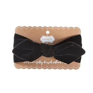 Mud Pie Buffalo Black Velvet Bow Headband