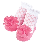 Mud Pie Pink Lattice Flower Socks